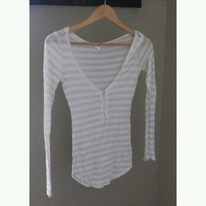 Free People Intimately V Neck Long Sleeve Top